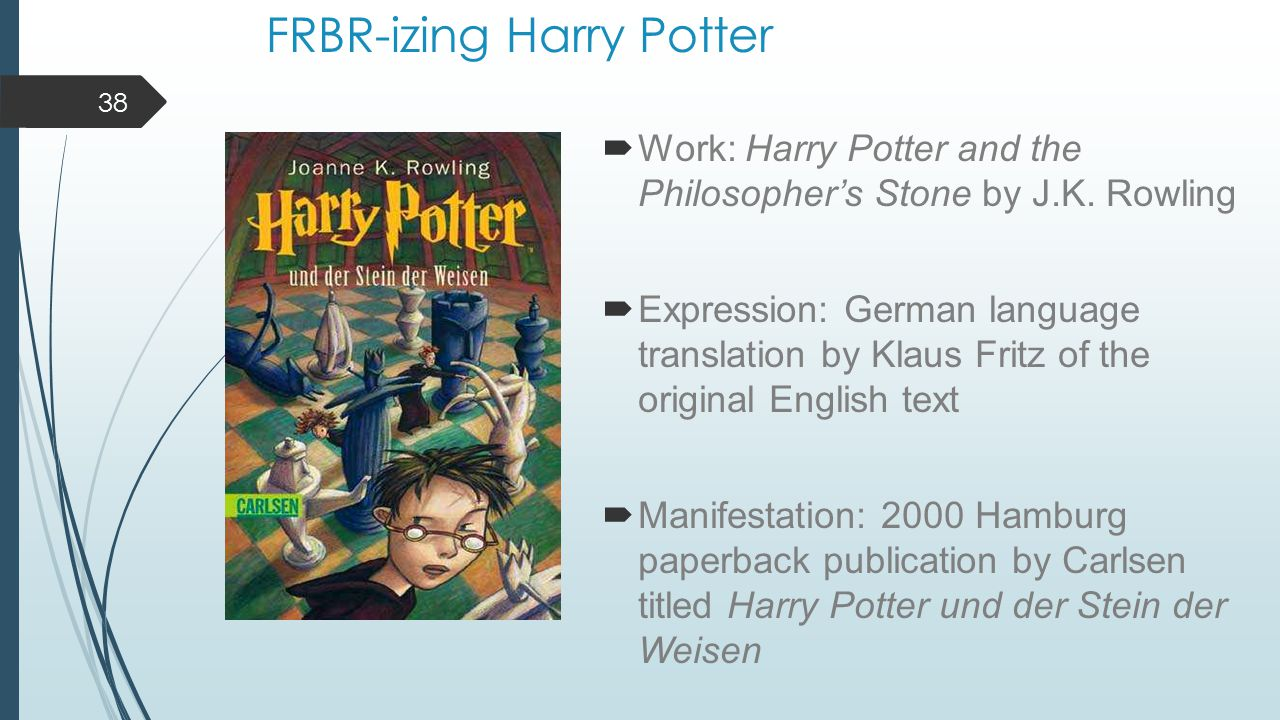 FRBR-izing Harry Potter  Work: Harry Potter and the Philosopher's Stone by J.K.