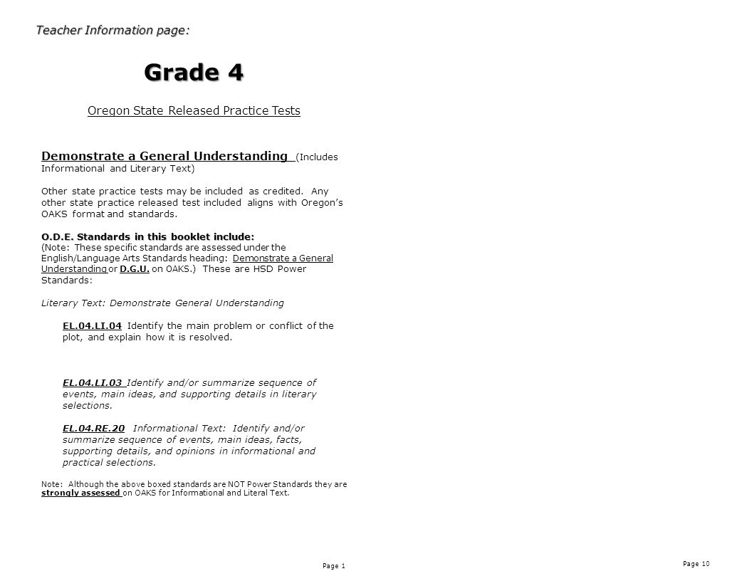 Page 1 Page 10 Teacher Information page: Grade 4 Oregon State Released Practice Tests Demonstrate a General Understanding (Includes Informational and