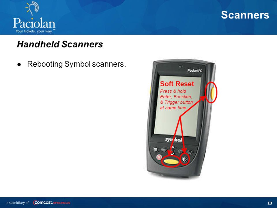 13 Scanners ●Rebooting Symbol scanners. Handheld Scanners