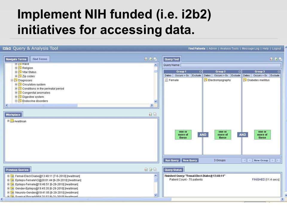 Implement NIH funded (i.e. i2b2) initiatives for accessing data.