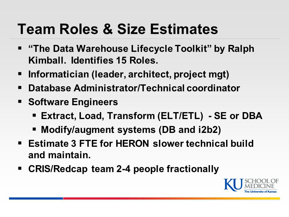 Team Roles & Size Estimates  The Data Warehouse Lifecycle Toolkit by Ralph Kimball.