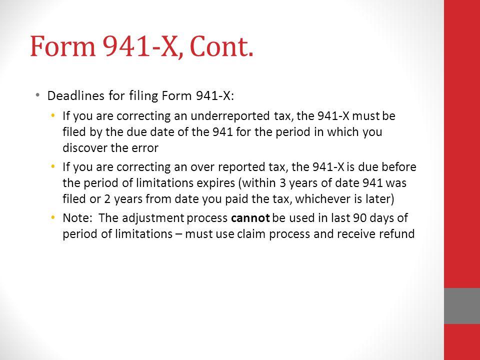 Form 941-X, Cont.