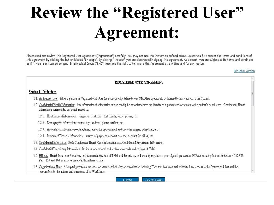 Review the Registered User Agreement: