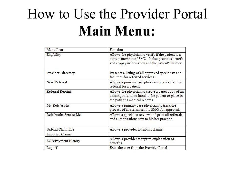 How to Use the Provider Portal Main Menu: