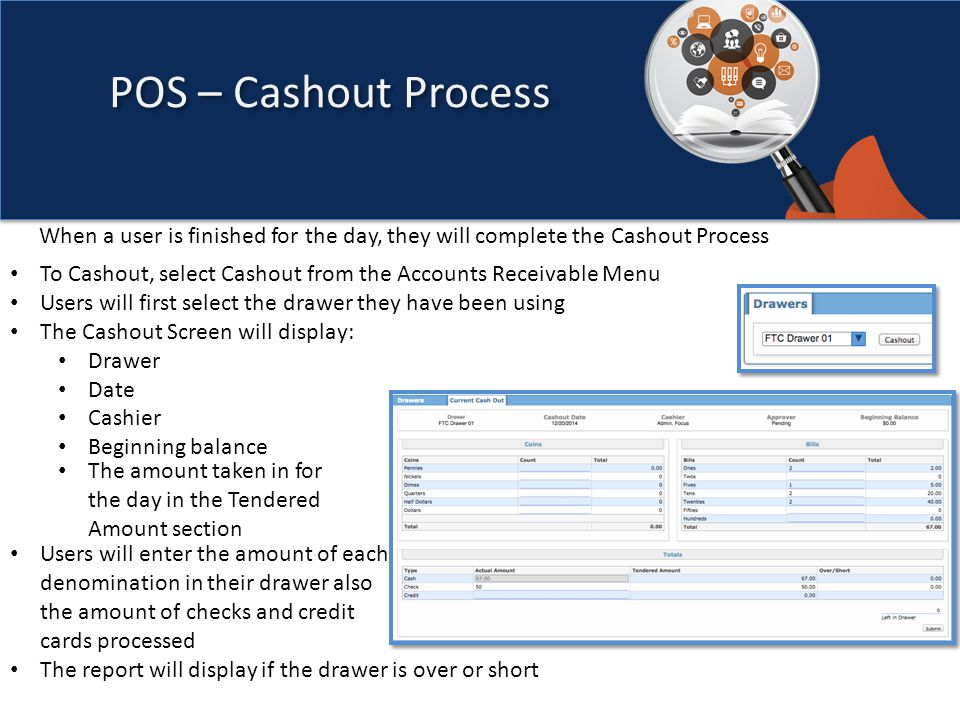 To Cashout, select Cashout from the Accounts Receivable Menu Users will first select the drawer they have been using The Cashout Screen will display: Drawer Date Cashier Beginning balance POS – Cashout Process The amount taken in for the day in the Tendered Amount section Users will enter the amount of each denomination in their drawer also the amount of checks and credit cards processed The report will display if the drawer is over or short When a user is finished for the day, they will complete the Cashout Process