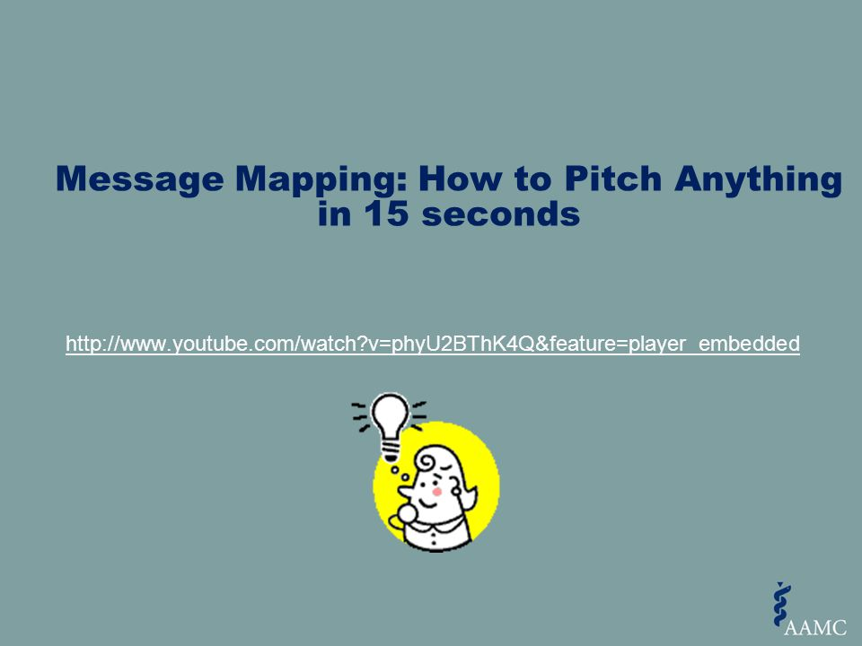 Message Mapping: How to Pitch Anything in 15 seconds http://www.youtube.com/watch?v=phyU2BThK4Q&feature=player_embedded