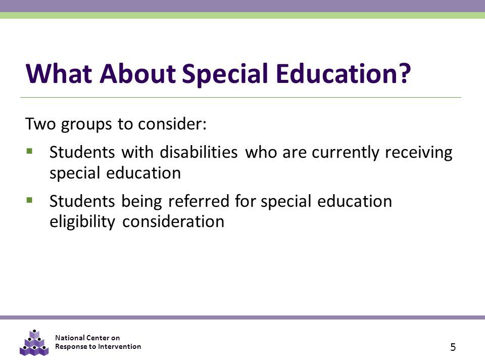 National Center on Response to Intervention What About Special Education.