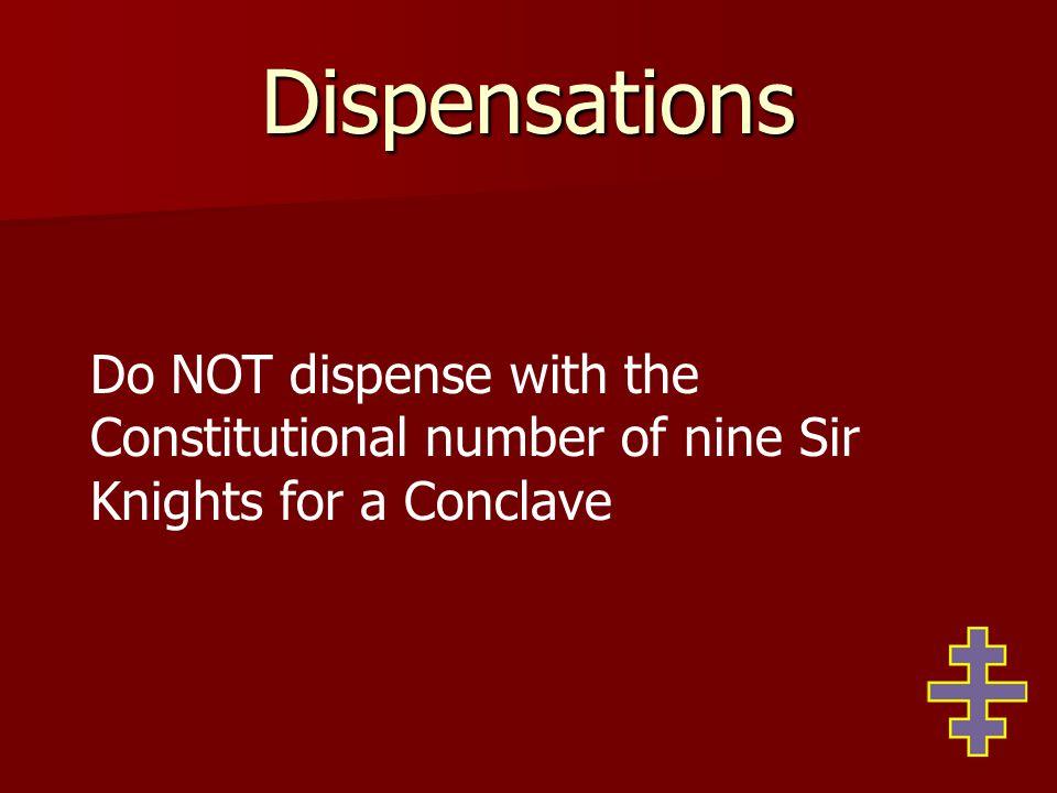 Dispensations Section 66.