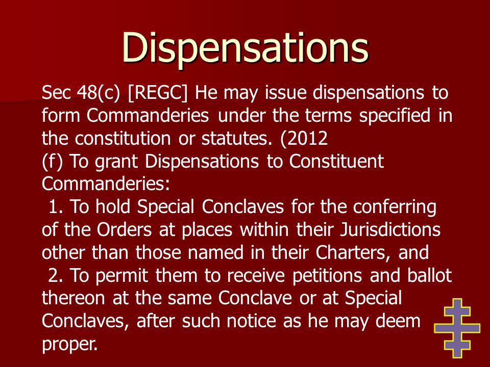 Dispensations 3.(Intentionally blank) 4.