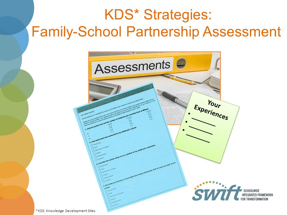 KDS* Strategies: Family-School Partnership Assessment Your Experiences _______ Your Experiences _______ *KDS: Knowledge Development Sites