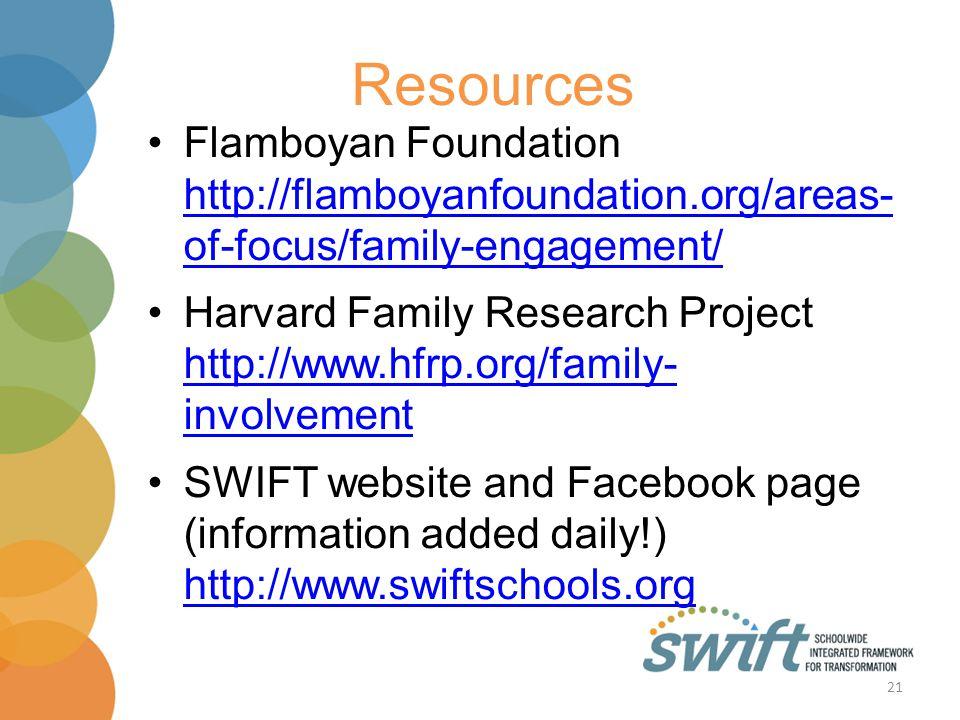 Resources Flamboyan Foundation http://flamboyanfoundation.org/areas- of-focus/family-engagement/ http://flamboyanfoundation.org/areas- of-focus/family-engagement/ Harvard Family Research Project http://www.hfrp.org/family- involvement http://www.hfrp.org/family- involvement SWIFT website and Facebook page (information added daily!) http://www.swiftschools.org http://www.swiftschools.org 21