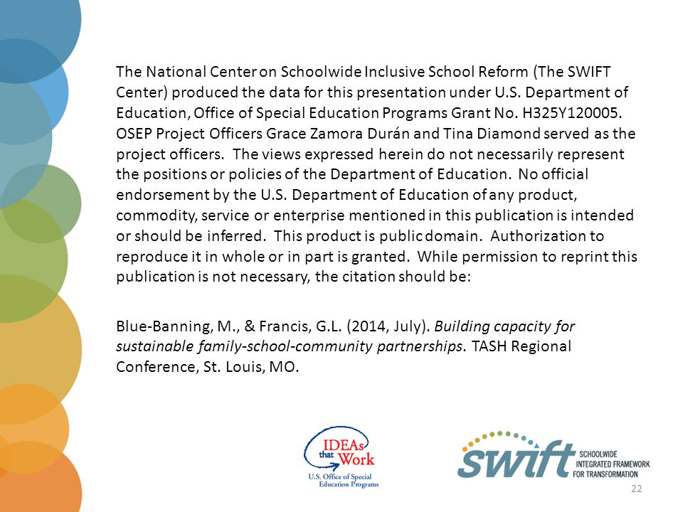 The National Center on Schoolwide Inclusive School Reform (The SWIFT Center) produced the data for this presentation under U.S.
