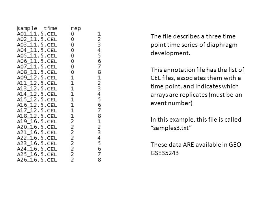 The file describes a three time point time series of diaphragm development. This annotation file has the list of CEL files, associates them with a tim