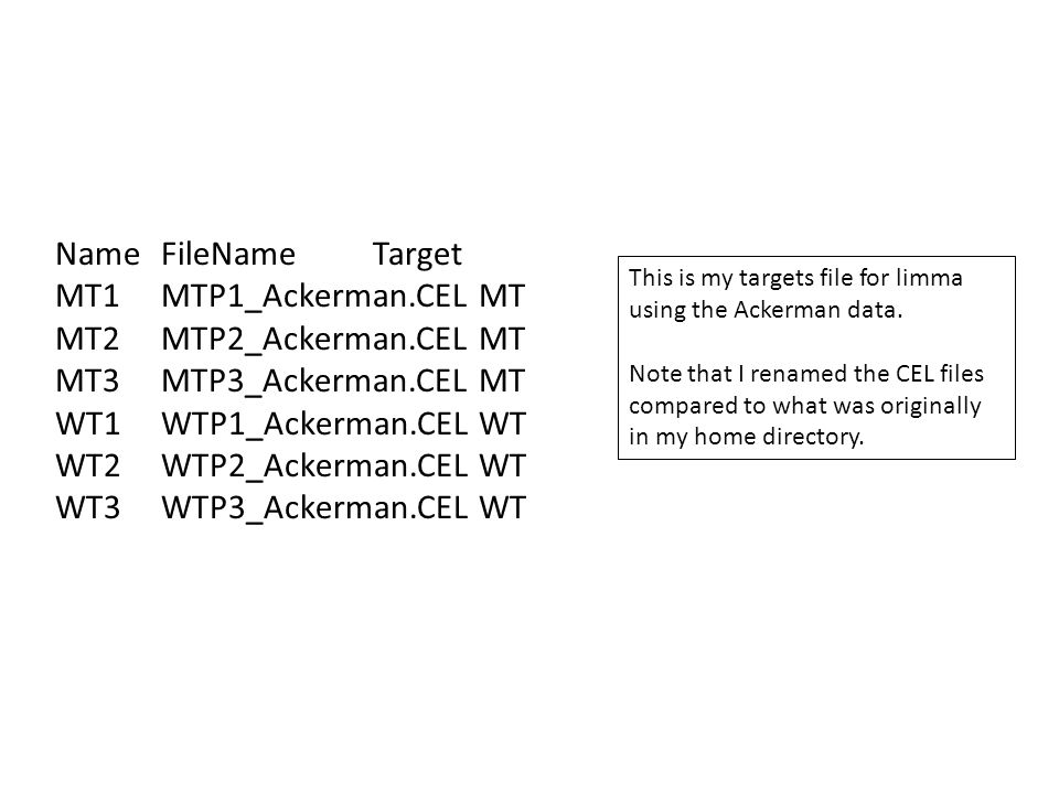 NameFileNameTarget MT1MTP1_Ackerman.CELMT MT2MTP2_Ackerman.CELMT MT3MTP3_Ackerman.CELMT WT1WTP1_Ackerman.CELWT WT2WTP2_Ackerman.CELWT WT3WTP3_Ackerman