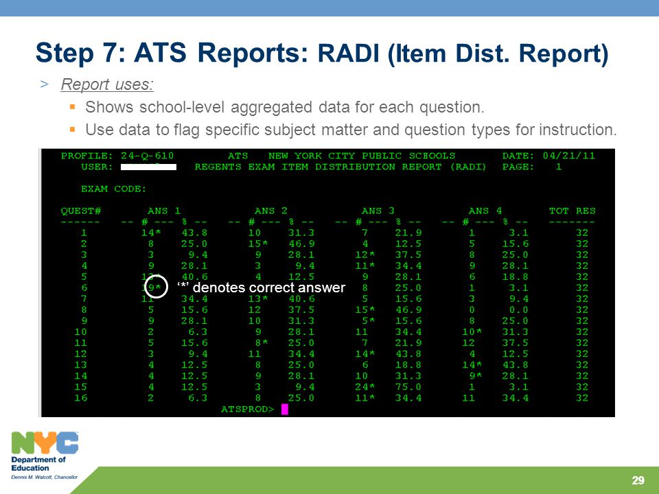 29 Step 7: ATS Reports: RADI (Item Dist. Report) >Report uses:  Shows school-level aggregated data for each question.  Use data to flag specific sub