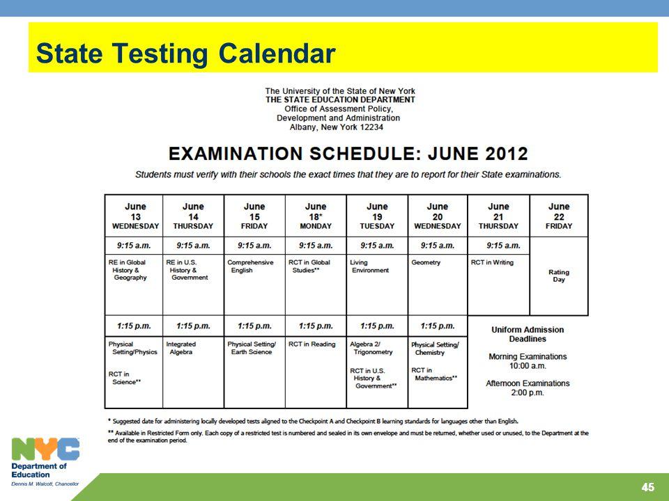 45 State Testing Calendar