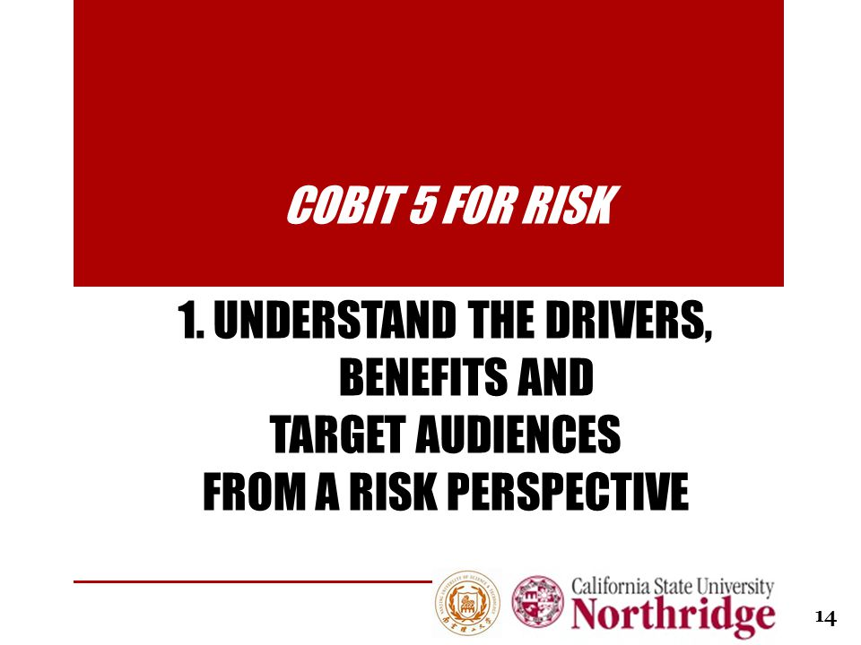 COBIT 5 FOR RISK 1. UNDERSTAND THE DRIVERS, BENEFITS AND TARGET AUDIENCES FROM A RISK PERSPECTIVE 14