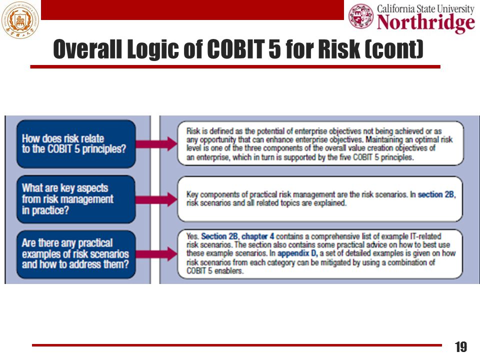 Overall Logic of COBIT 5 for Risk (cont) 19
