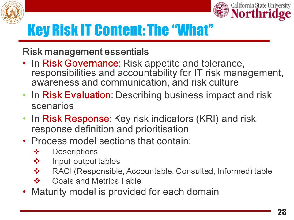 """Key Risk IT Content: The """"What"""" Risk management essentials In Risk Governance: Risk appetite and tolerance, responsibilities and accountability for IT"""