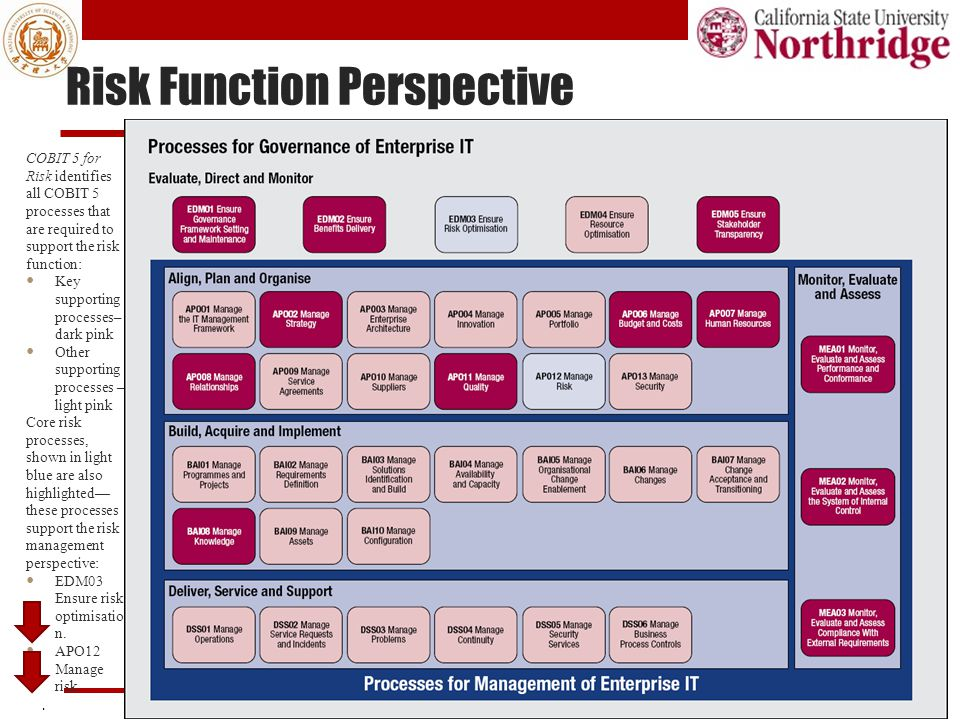 Risk Function Perspective. All rights reserved.32 COBIT 5 for Risk identifies all COBIT 5 processes that are required to support the risk function: Ke