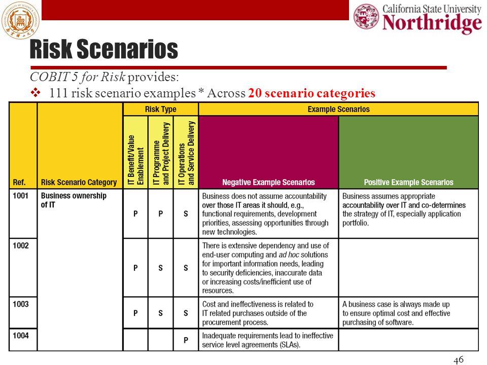 Risk Scenarios 46 COBIT 5 for Risk provides:  111 risk scenario examples * Across 20 scenario categories