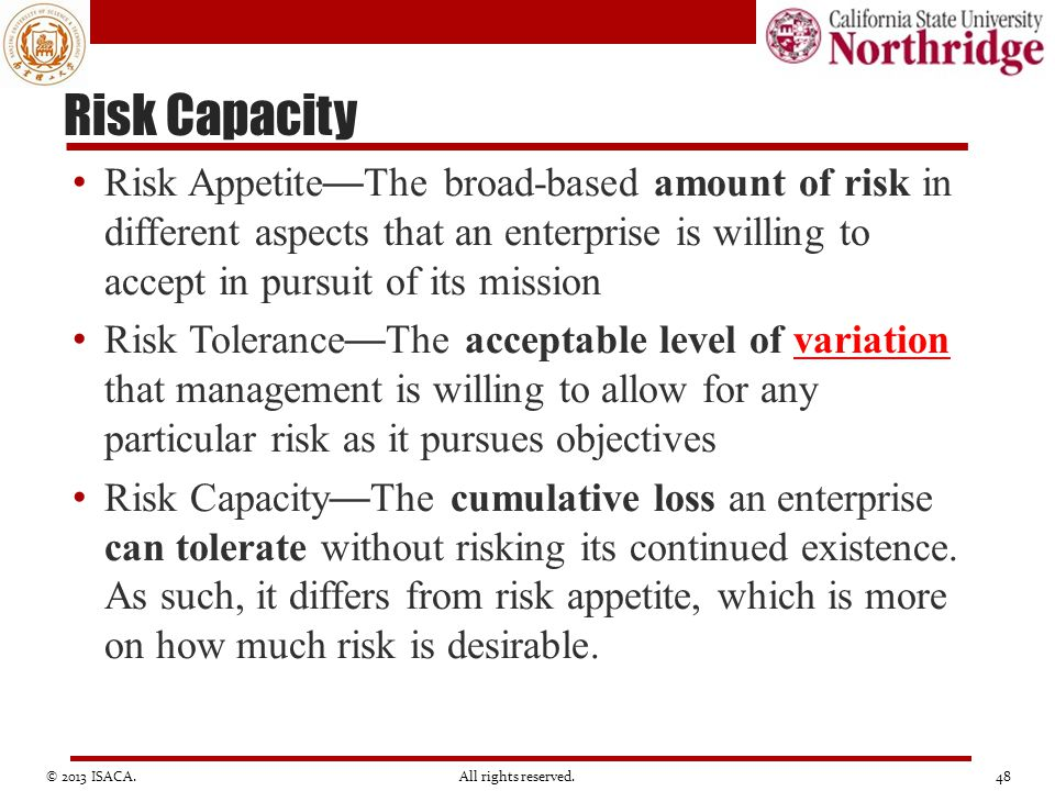 Risk Capacity Risk Appetite — The broad-based amount of risk in different aspects that an enterprise is willing to accept in pursuit of its mission Ri