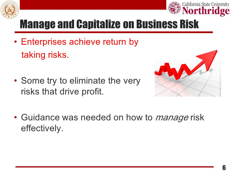 Risk management tenet Managing risk to business performance  Against specific objectives ENABLES businesses to achieve the obj Changing situations may bring gain or loss  Risk management ENABLES businesses to stay on right track, to seize opportunities Risk management should improve agility, making it safer to move in a changing environment  Human immunity analogy 7