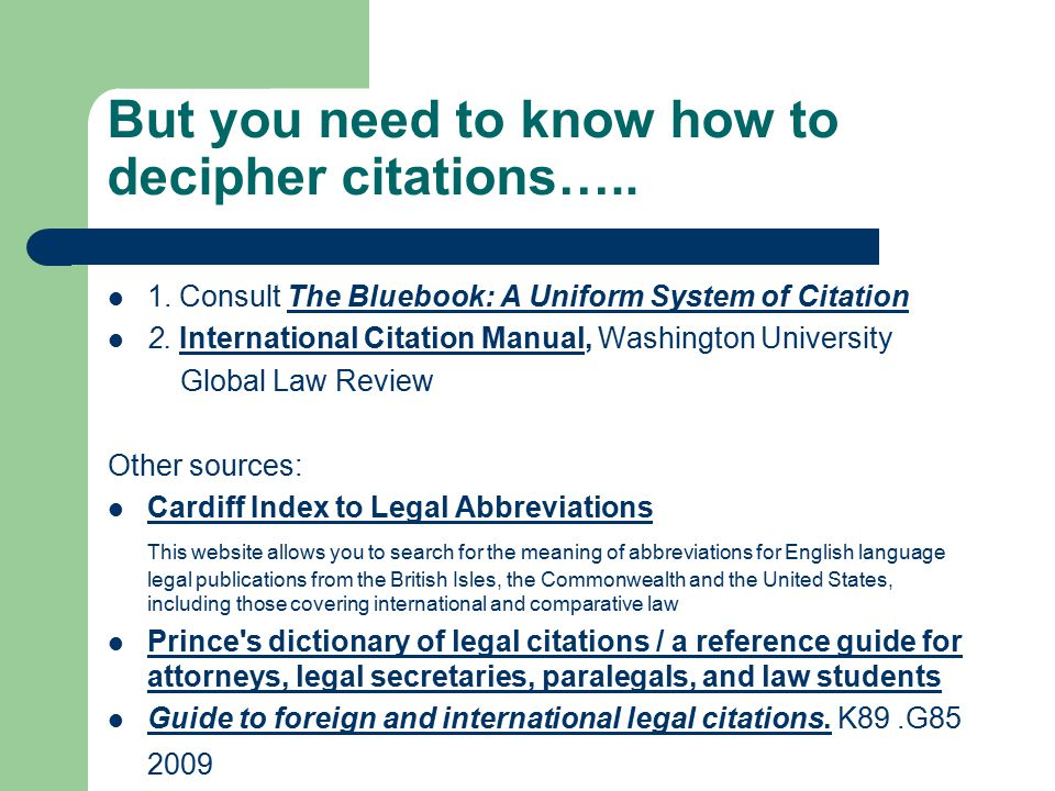 But you need to know how to decipher citations….. 1.