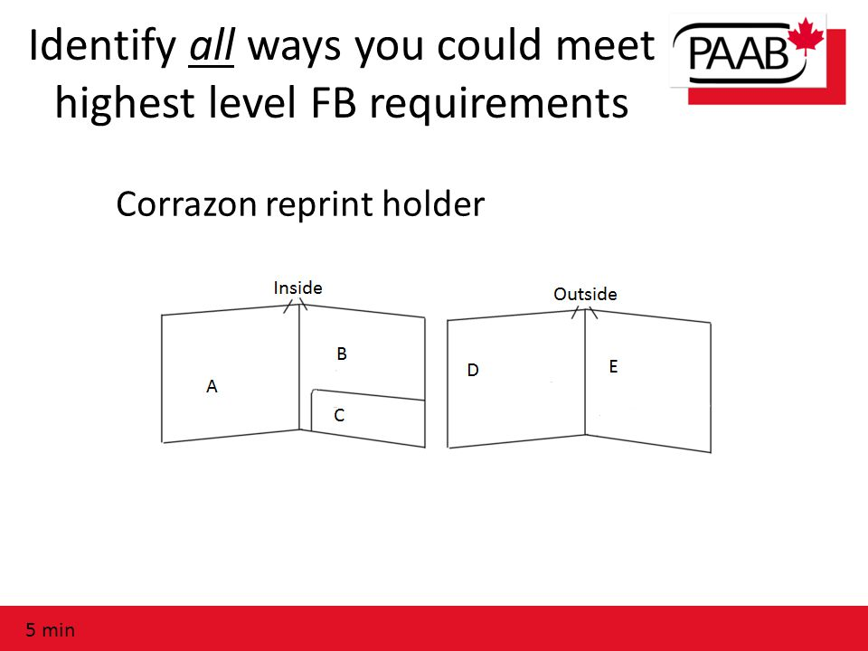 Identify all ways you could meet highest level FB requirements Corrazon reprint holder 5 min