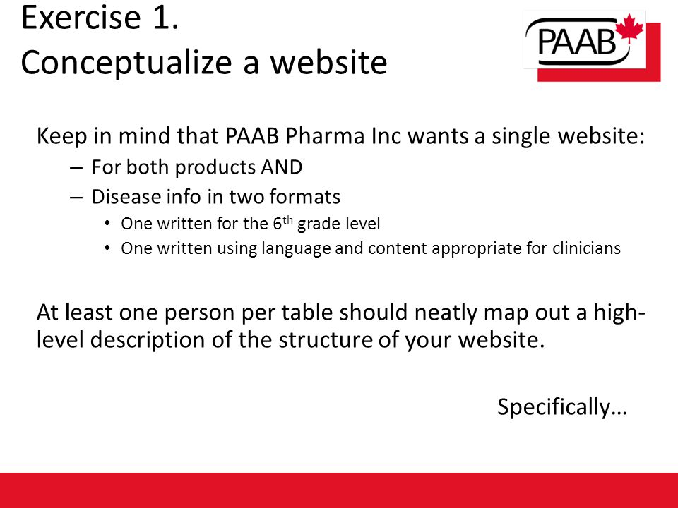 Exercise 1. Conceptualize a website Keep in mind that PAAB Pharma Inc wants a single website: – For both products AND – Disease info in two formats On