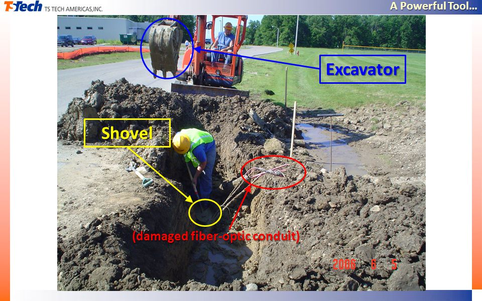 A Powerful Tool… Excavator Shovel (damaged fiber-optic conduit)
