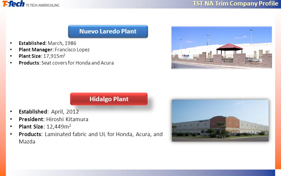 TST NA Trim Company Profile Established: March, 1986 Plant Manager: Francisco Lopez Plant Size: 17,915m 2 Products: Seat covers for Honda and Acura Nuevo Laredo Plant Hidalgo Plant Established: April, 2012 President: Hiroshi Kitamura Plant Size: 12,449m 2 Products: Laminated fabric and UL for Honda, Acura, and Mazda