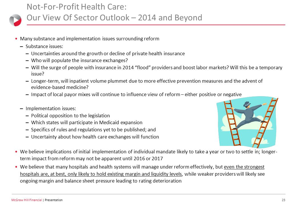 23 McGraw Hill Financial | Presentation Not-For-Profit Health Care: Our View Of Sector Outlook – 2014 and Beyond Many substance and implementation issues surrounding reform – Substance issues: – Uncertainties around the growth or decline of private health insurance – Who will populate the insurance exchanges.