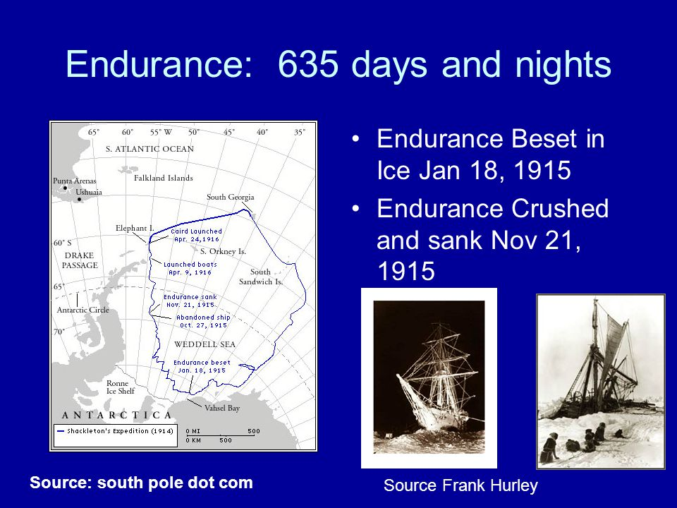Endurance: 635 days and nights Endurance Beset in Ice Jan 18, 1915 Endurance Crushed and sank Nov 21, 1915 Source: south pole dot com Source Frank Hurley