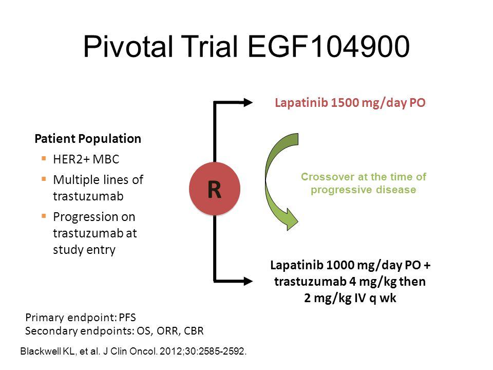 Pivotal Trial EGF104900 Lapatinib 1500 mg/day PO Lapatinib 1000 mg/day PO + trastuzumab 4 mg/kg then 2 mg/kg IV q wk Patient Population  HER2+ MBC 