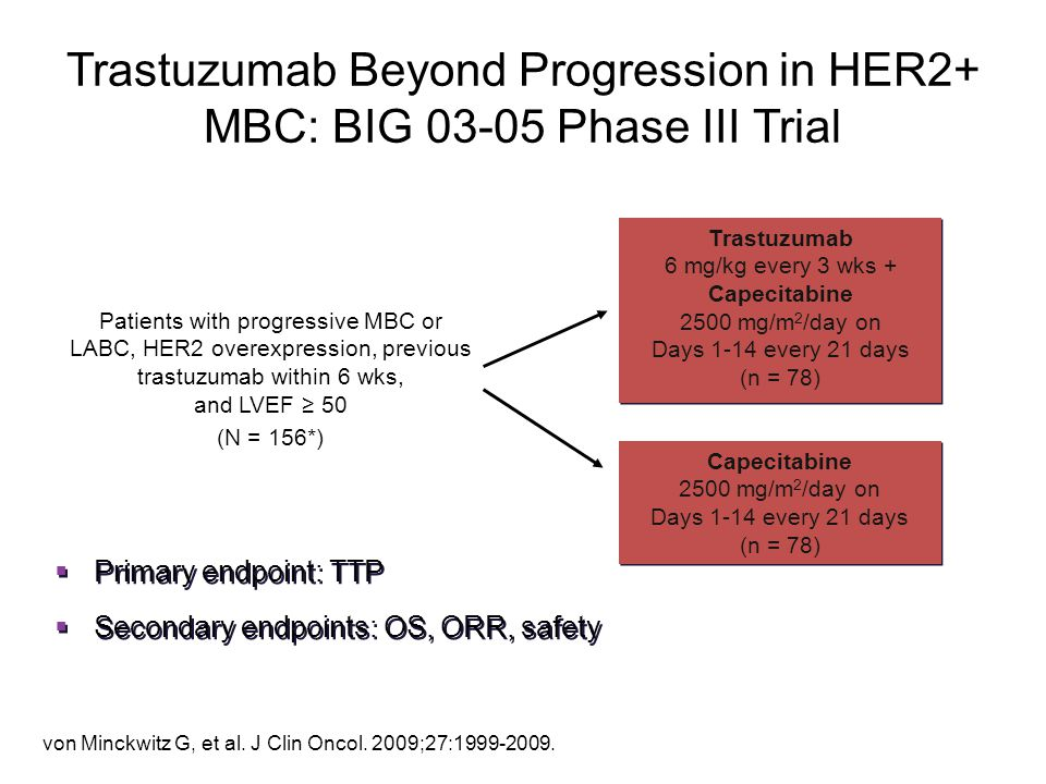 Trastuzumab Beyond Progression in HER2+ MBC: BIG 03-05 Phase III Trial Patients with progressive MBC or LABC, HER2 overexpression, previous trastuzuma