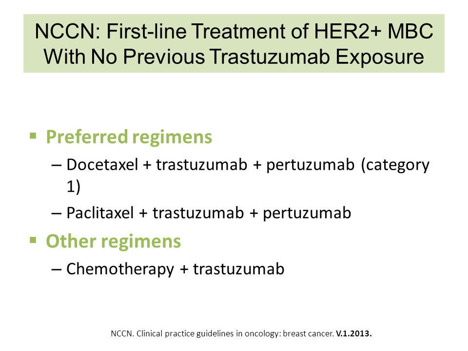 NCCN: First-line Treatment of HER2+ MBC With No Previous Trastuzumab Exposure  Preferred regimens – Docetaxel + trastuzumab + pertuzumab (category 1)