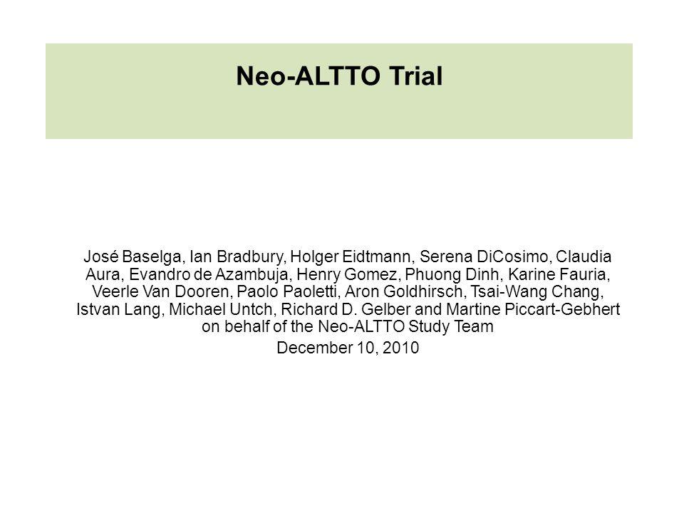 Neo-ALTTO Trial José Baselga, Ian Bradbury, Holger Eidtmann, Serena DiCosimo, Claudia Aura, Evandro de Azambuja, Henry Gomez, Phuong Dinh, Karine Faur