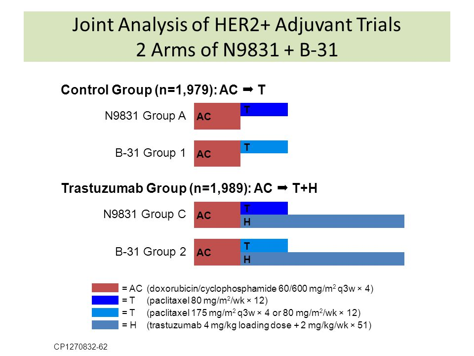 Joint Analysis of HER2+ Adjuvant Trials 2 Arms of N9831 + B-31 CP1270832-62 Control Group (n=1,979): AC  T N9831 Group A B-31 Group 1 Trastuzumab Gro