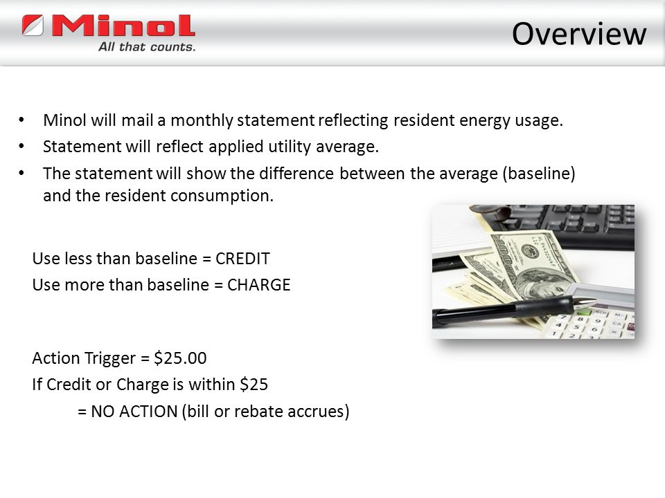 Overview Minol will mail a monthly statement reflecting resident energy usage. Statement will reflect applied utility average. The statement will show