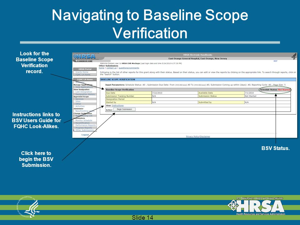 Slide 14  Look for the Baseline Scope Verification record.
