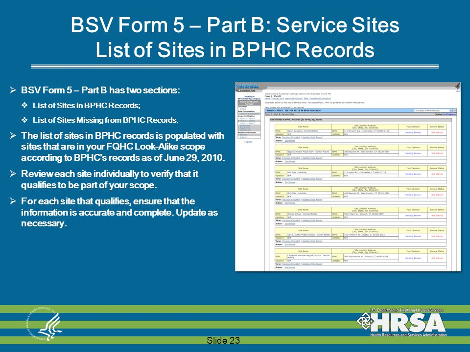 Slide 23 BSV Form 5 – Part B: Service Sites List of Sites in BPHC Records  BSV Form 5 – Part B has two sections:  List of Sites in BPHC Records;  List of Sites Missing from BPHC Records.