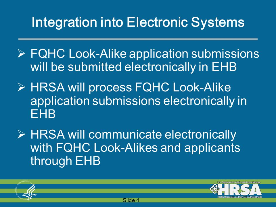 Slide 4 Integration into Electronic Systems  FQHC Look-Alike application submissions will be submitted electronically in EHB  HRSA will process FQHC Look-Alike application submissions electronically in EHB  HRSA will communicate electronically with FQHC Look-Alikes and applicants through EHB