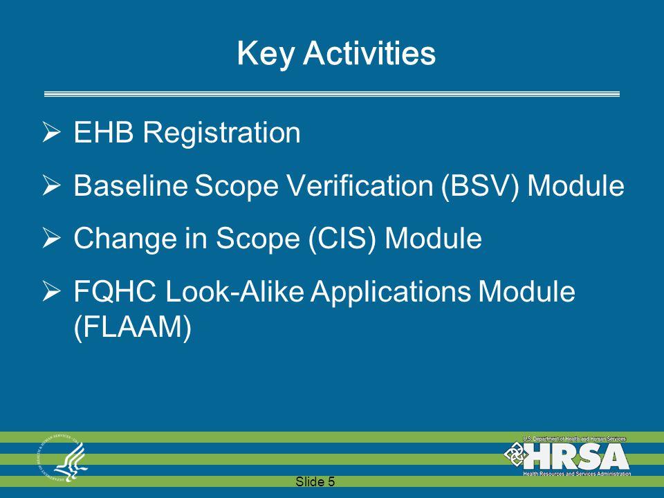 Slide 5 Key Activities  EHB Registration  Baseline Scope Verification (BSV) Module  Change in Scope (CIS) Module  FQHC Look-Alike Applications Module (FLAAM)