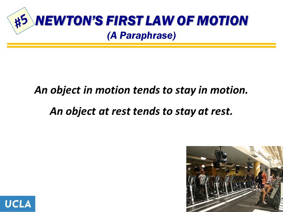 NEWTON'S FIRST LAW OF MOTION NEWTON'S FIRST LAW OF MOTION (A Paraphrase) An object in motion tends to stay in motion.
