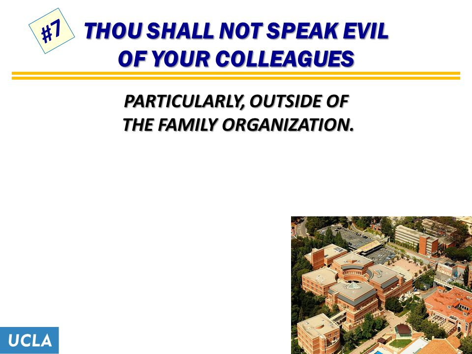 THOU SHALL NOT SPEAK EVIL OF YOUR COLLEAGUES PARTICULARLY, OUTSIDE OF THE FAMILY ORGANIZATION. #7