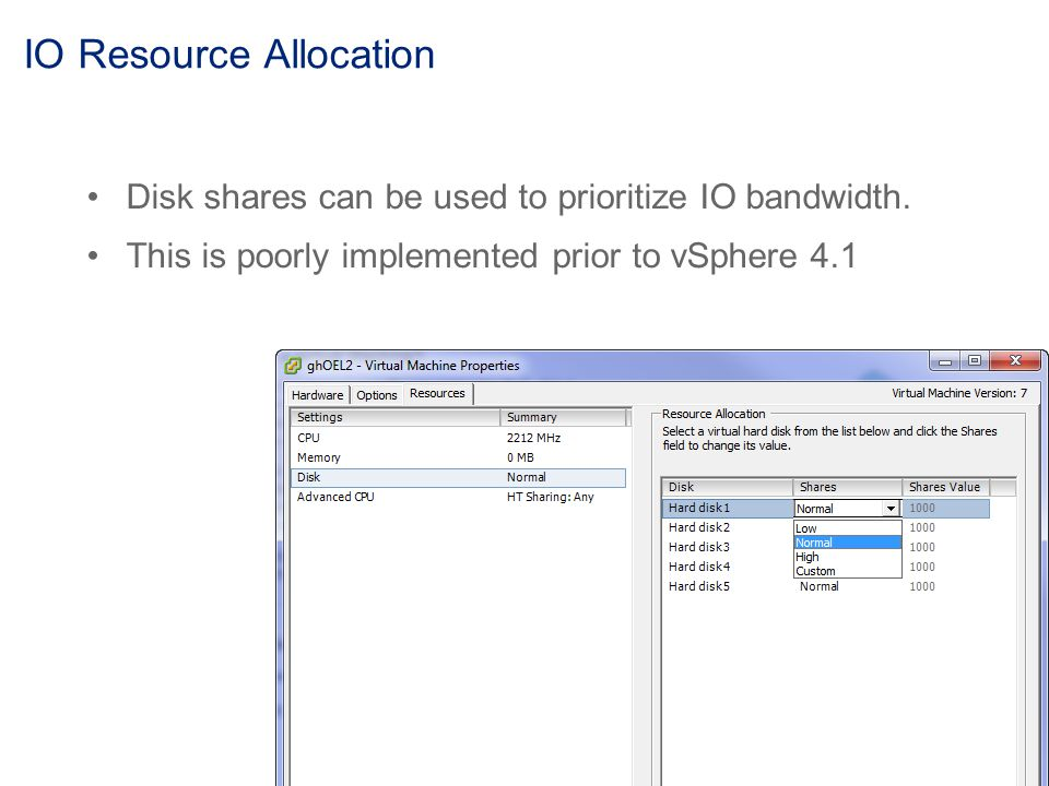 IO Resource Allocation Disk shares can be used to prioritize IO bandwidth.