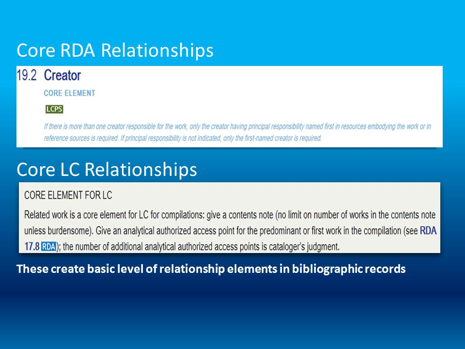 Core RDA Relationships Core LC Relationships These create basic level of relationship elements in bibliographic records