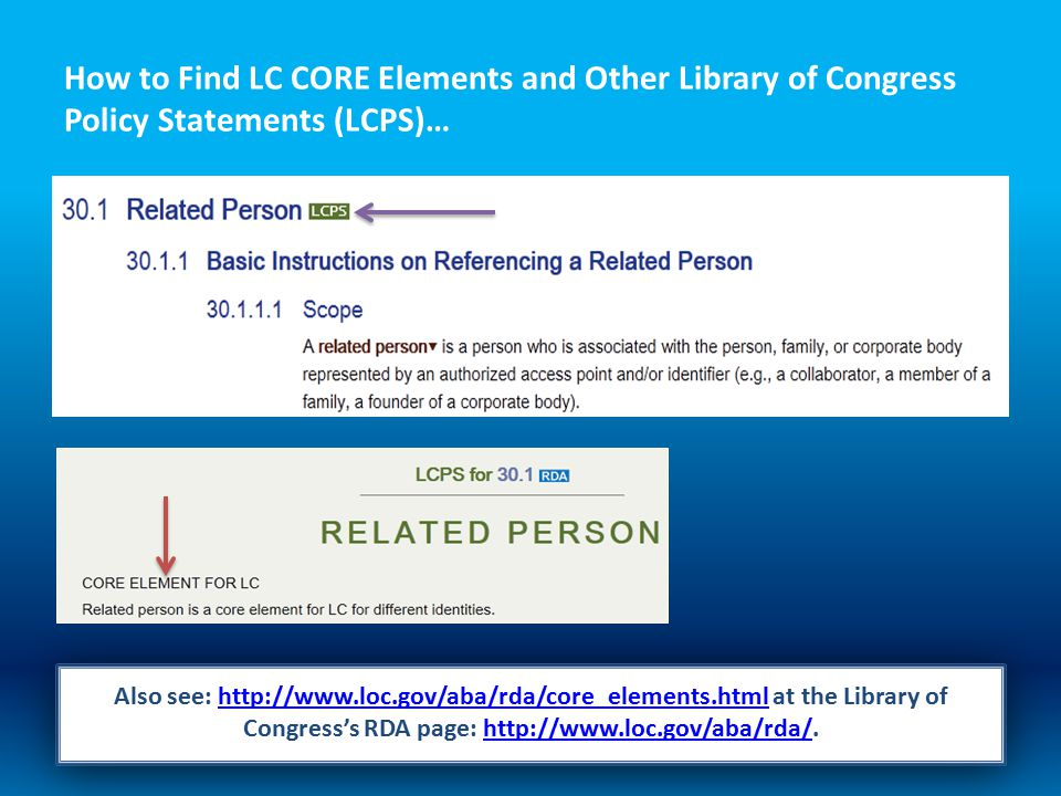 How to Find LC CORE Elements and Other Library of Congress Policy Statements (LCPS)… Also see: http://www.loc.gov/aba/rda/core_elements.html at the Library of Congress's RDA page: http://www.loc.gov/aba/rda/.http://www.loc.gov/aba/rda/core_elements.htmlhttp://www.loc.gov/aba/rda/