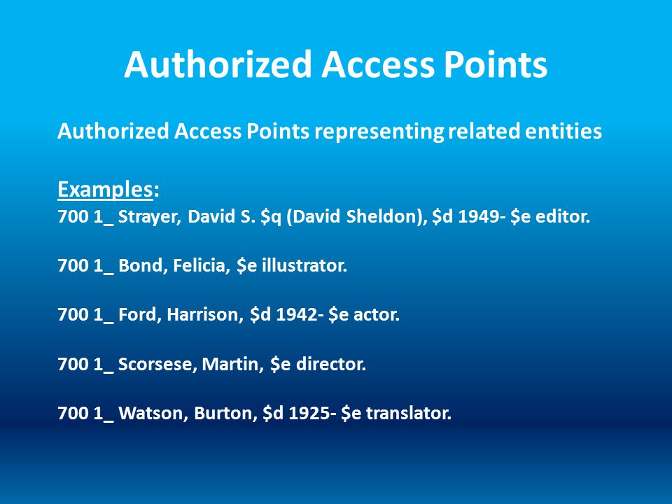 Authorized Access Points Authorized Access Points representing related entities Examples: 700 1_ Strayer, David S. $q (David Sheldon), $d 1949- $e edi